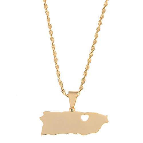 Sudran-baby Stainless Steel Gold Color Puerto Rico Map Pendant Necklaces Trendy Puerto Ricans Map Chain Jewelry-