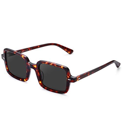 Carfia Retro UV400 Sonnenbrille für Herren Damen Polarisierte Fahrenbrille Acetate Rahmen CA5353