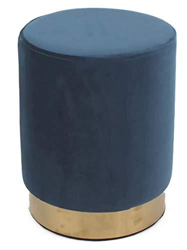 Bada Bing Hochwertiger Samthocker Blau Gold Ø 33 x H. 43 cm Hocker Pouf Sitzhocker Dunkelblau Trend 67