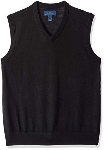 BUTTONED DOWN Men's Italian Merino Wool Lightweight Cashwool Sweater Vest, Black, X-Small
