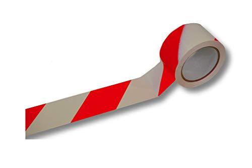 1 Rolle = 66 Meter Bodenmarkierungsband > rot/weiß schraffiert < Aufkleber Bodenband Klebeband Warnband Warnklebeband Bodenaufkleber Warnlinie Endlosband Fußbodenband klebend Fußbodenaufkleber
