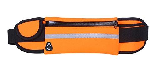 WSLCN Unisex Erwachsene Verstellbar Hüfttaschen Laufgürtel Multi-Pochette Gürtel Taschen Portemonnaie Wasserdicht Sport Fahrrad Wandern Laufen Joggen Klettern Wasserdicht Orange