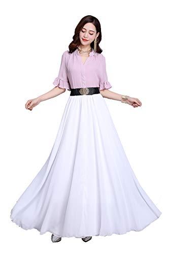 Sinreefsy Summer Chiffon High Waist Pleated Big Hem Floor/Ankle Length Beach Maxi Skirt for Women Wedding Party Long Skirts(Large/White)