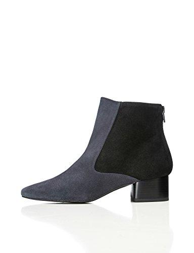 find. Stiefel Damen aus Velours- und strukturiertem Leder mit Reißverschluss an der Ferse, Blau...