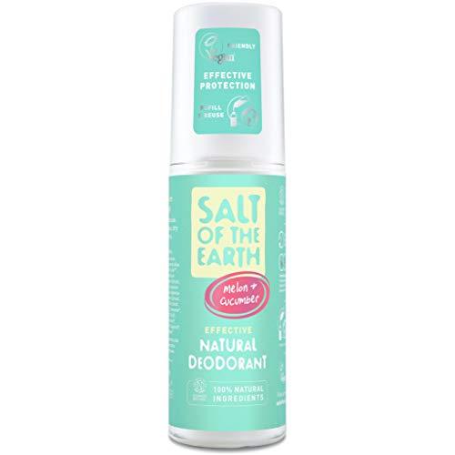 Salt Of the Earth Crystal Spring Salz der Erde Pure Aura Melone & Gurke Duft. Effektive natürliche Deodorant 100ml. Vegan & Vegetarische Gesellschaft genehmigt er Pack(x)