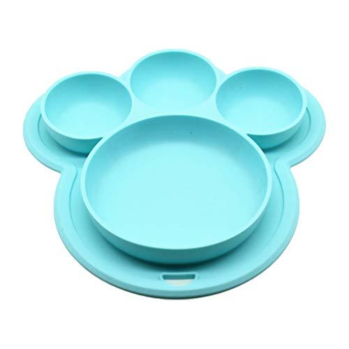 WE-WHLL Bandeja de Silicona para niños Mantel Individual para niños pequeños Vajilla para bebés Platos para Alimentos Vajilla para jardín de Infantes Hogar-Azul