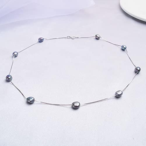SALAN Collana di Perle Naturali Barocche per Donna con Catena in Argento Sterling 925 6-7mm Gioielli di Moda con Perle d'Acqua Dolce 45 Cm