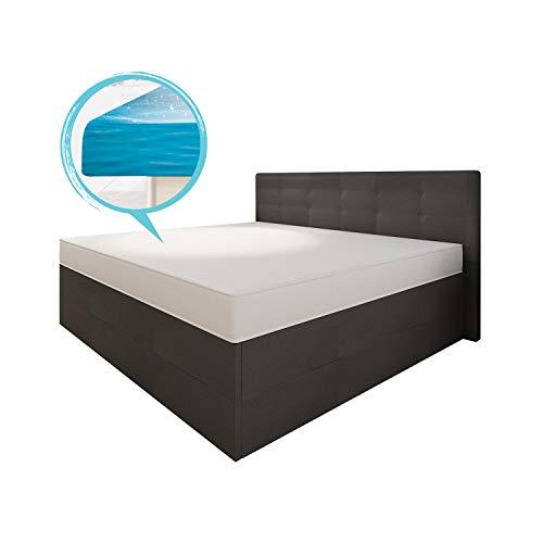 bellvita Wasserbett silverline BOXSPRING-Optik inkl. Lieferung & Aufbau durch Fachpersonal (160 x 200 cm, Kunstleder schwarz)