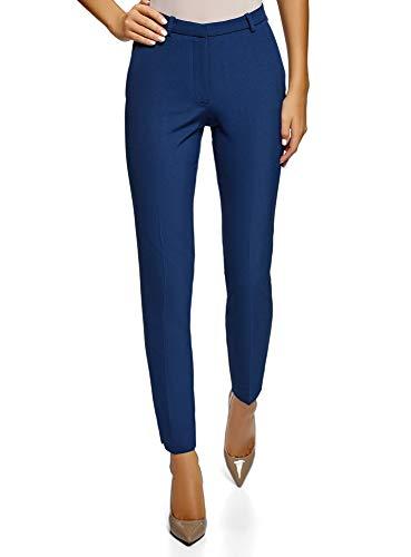 oodji Ultra Donna Pantaloni Stretti con Cintura a Contrasto, Blu, IT 42 / EU 38 / S