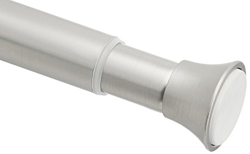 AmazonBasics Tension Shower Doorway Curtain Rod, 78-108', Nickel