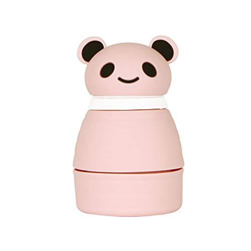 Song6 Strandzelt Silikon Falten Tasse Tragbare Versenkbare Tasse Reise Flasche Panda Kopfbedeckung Cartoon Prominent Kapazität Sportflasche Camping Zelt (Color : Pink)