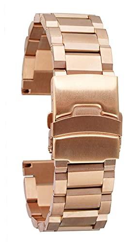 FETTR Correa de reloj de acero inoxidable macizo, 3 colores, 18 mm, 20 mm, 22 mm, 24 mm, correa de metal para reloj de pulsera de repuesto para hombres y mujeres, (color: oro rosa, tamaño: 18 mm)