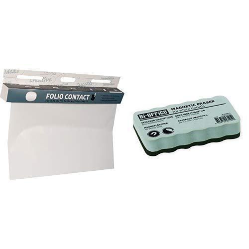 Folio Contact Whiteboard: die patentierte elektrostatische Folie - wiederbeschreibbar, haftet ohne Hilfsmittel auf nahezu allen Oberflächen & Bi-Office Whiteboardlöscher, magnetisch
