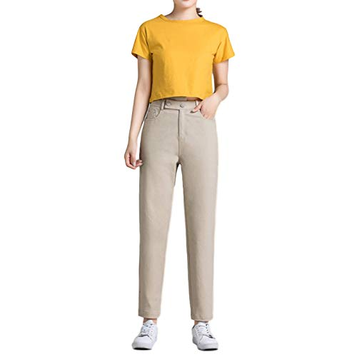 Pantalón de Corte de Bota cómodo de Color sólido para Mujer, Pantalones de harén de Cintura Alta para Entrenamiento Diario de Ocio, Moda Regular 30
