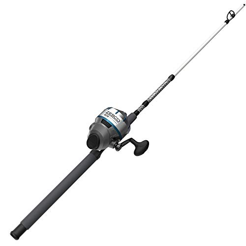 """Zebco 808 Saltwater Spincast Reel and Fishing Rod Combo, 7'0"""" Durable Z-Glass Rod, Extended EVA Handle, Stainless Steel Reel Cover with ABS Insert, Pre-spooled with 20 lb. Cajun Line, Black"""