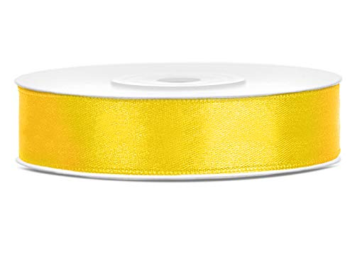 DaLoKu Satinband 6/12/25/38/50/100mm x 25m Geschenkband Schleifenband, Größe: 12mm x 25m, Farbe: Gelb