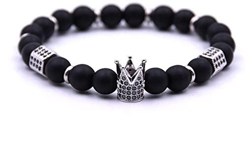 ZFLSGWZ Pulsera Negro Natural Piedra Matte Beads Crown Charm Pulsera Regalos Pulseras Brazaletes Joyería (Color : 4)