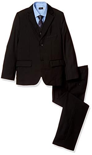 (Buona Vita) 男の子 スーツ 5点セット ブラック 卒業式 入学式 結婚式 キッズ 黒無地 145 150 155 160 七五三 フォーマル (145)