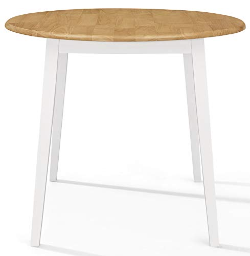 Hallowood Ledbury Small Wooden Kitchen Drop Leaf Round Dining Table | 100% Solid, Rubberwood, White Painted Body with Light Oak Finish Top, LEB-RTAB920-W