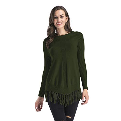 Fantastic Prices! Goldrui Women Crewneck Knit Pullover Tassel Hem Loose Casual Sweater Green
