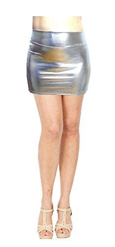 SACASUSA (TM Shiny Stretchy Metallic Wet Look Mini Skirts in Silver Medium