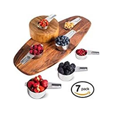 Palada 436 Stainless Steel Measuring Cups, Set of 7, Accurate, Heavy Duty, Dishwasher Safe for Easy Cleaning, Thick Handle & Double-Sided Engraved Measurements – EBook with 10000 Recipes Included