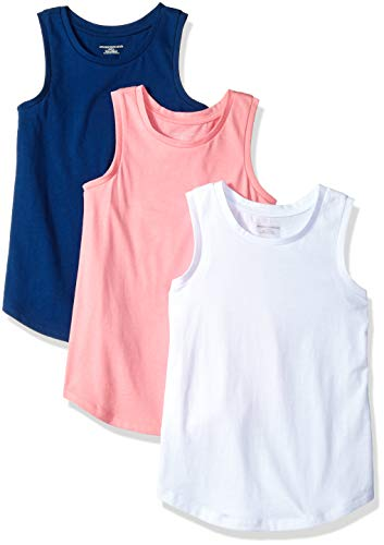 Amazon Essentials Girl's 3-Pack Tank Top, Blue Depths/Sachet Pink/Bright White, L
