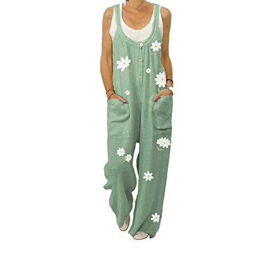 N\P Floral Print Correa De Las Mujeres Pantalones Sueltos Gran Mono De Las Mujeres