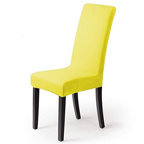 Chair Cover Massivstuhlabdeckungen Spandex-Slipcover Stretch-elastische Stuhlabdeckungen für Raumparty Universal Kitchen Chair Cover Casual (Color : Yellow, Specification : 1PC)