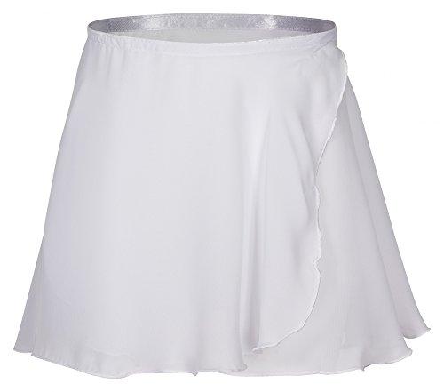 tanzmuster ® Wickelrock Mädchen Ballett - Emma - aus transparentem Chiffon - lockerluftiger Ballettrock zum Binden für Kinder in weiß, Größe:152/158