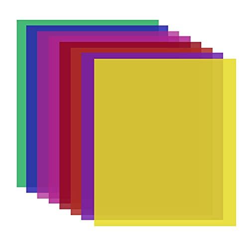 Neewer 8pz Gelatina Filtro Colorato in 8 Colori-40x50cm Pellicola di Plastica Trasparente Colorata, Filtro per Correzione di Colore per Strobo Flash da Studio, Luce LED, Luce da DJ ecc.