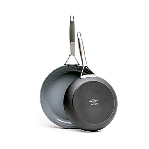 GreenPan Paris 2 Piece Ceramic Non-Stick 8 Inch and 10 Inch Open Frypan Set, Gray -