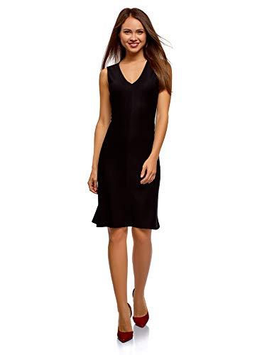 oodji Ultra Damen Jersey-Kleid mit Ausgestelltem Rock, Schwarz, DE 34 / EU 36 / XS