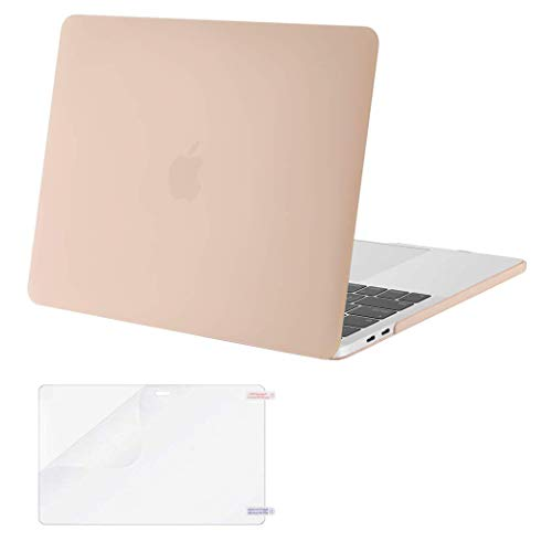 MOSISO MacBook Pro 13 inch Case 2019 2018 2017 2016 Release A2159 A1989 A1706 A1708, Plastic Hard Shell Case&Screen Protector Compatible with MacBook Pro 13 inch with/Without Touch Bar, Camel