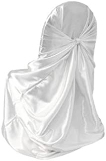 KING 1 Satin Universal Self Tie Back Chair Cover Banquet Wedding Party & Event -White