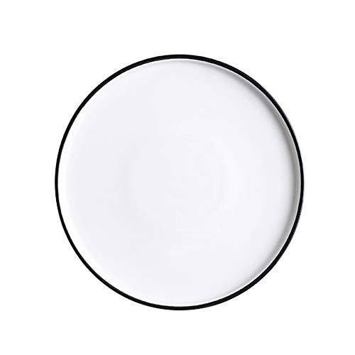 Trays Haushalt Speiseteller westliche Teller-Behältersalver Steak-Platte Keramikgeschirr Frühstücksteller Disc (3) (Color : White and Black)