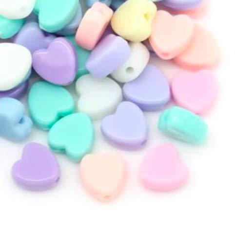 Handarbeit-Lieblingsladen - 300 perline acriliche a forma di cuore in colori pastello, 8 x 8 mm, foro rotondo da 1,5 mm, perline in plastica per creare gioielli fai da te