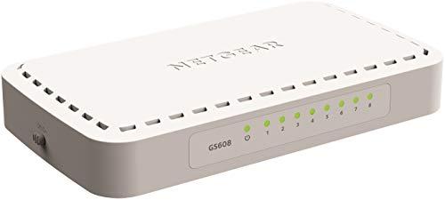 NETGEAR GS608 Switch 8-Port Gigabit Ethernet LAN Switch (Plug-and-Play Netzwerk Switch, LAN Verteiler, energieffizienter Hub, lüfterlos)