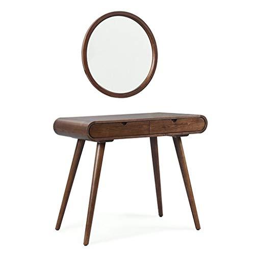 SSG Home Coiffeuse avec Miroir Mural Chambre Coiffeuse Multifonctions Petit Bois Massif Meubles Coiffeuse