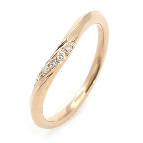 刻印無料 リング ピンクゴールド 天然 ダイヤモンド 0.03ct レディース メンズ ペア 指輪 リング ピンクゴールド ウェーブ ライン デザイン ギフトボックス 繊細 華奢 華やか 上品 PLATA Jewelly Ring ペアリング ピンクゴール