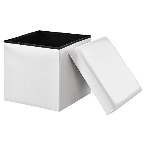 EGLEMTEK Pouf Panca Contenitore in Ecopelle con Coperchio (Bianco)