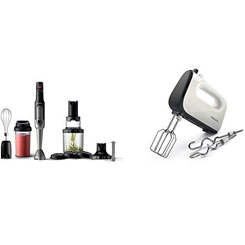 Philips Stabmixer Viva HR2657/90 (800W, SpeedTouch, inkl. 2-in-1 Togo Trinkflasche, Spiralschneider, Schneebesenaufsatz) edelstahl & HR3741/00 Handmixer (450 Watt) weiß/schwarz