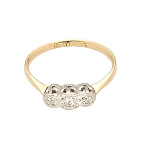 Anillo de oro amarillo de 9 quilates y platino de 0,10 quilates de diamantes de tres piedras (tamaño L 1/2) | Anillo de lujo para mujer