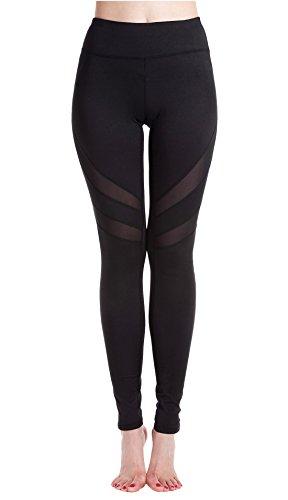 Lotus Instyle Leggings für Damen, Mesh-Einsätze, Fitness-/Yoga-Hose Gr. M, schwarz 2