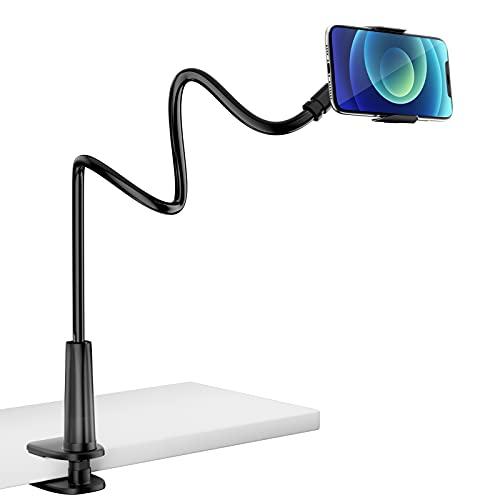 Soporte Movil Cama, PEYOU 85 cm Soporte Móvil Flexible Universal Teléfono con Brazo de Cuello de Cisne, para iPhone 12 Mini 12 11 Pro XS, Celulares Samsung S21 S20 S10 S9 S8, Huawei, Otras Smartphones