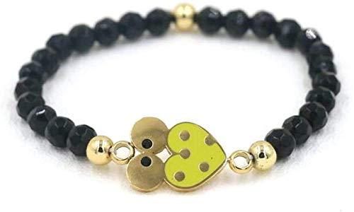 Pulsera de piedra mujeres, 7 chakra perlas de piedra natural obsidiana brazalete elástico amarillo mariquita joyería de animales de la joyería de yoga protección de la energía del encanto del difusor
