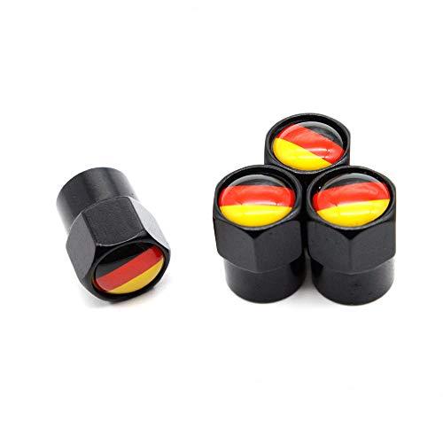 4 Pcs/Set Válvula del neumático Tapones Antipolvo Alemania Bandera Nacional Aleación de Aluminio/Cobre para automóviles VW Audi Toyota Honda BMW Benz (Negro)