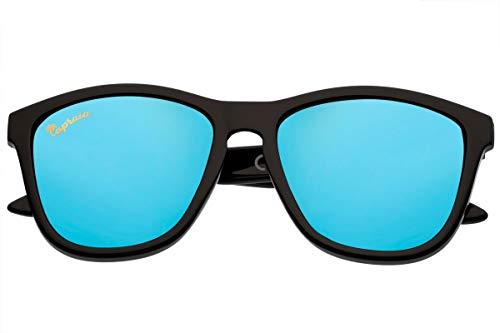 Capraia Durella Estilosas Gafas de Sol Ultra Ligeras TR90 Montura Negra Lentes Azules Espejadas Polarizadas protección UV400 Hombres Mujeres