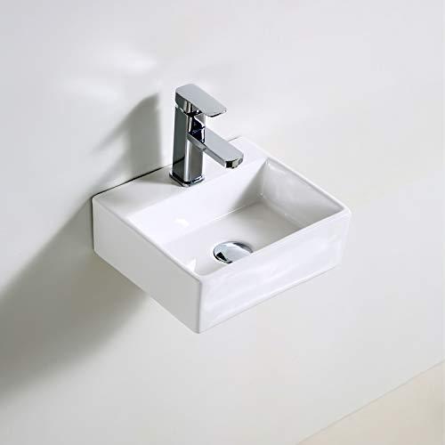 QI&YI Lavabo de cerámica para cuarto de baño, montaje en pared, pequeño medio baño, esquina de lavabo, grifo emergente