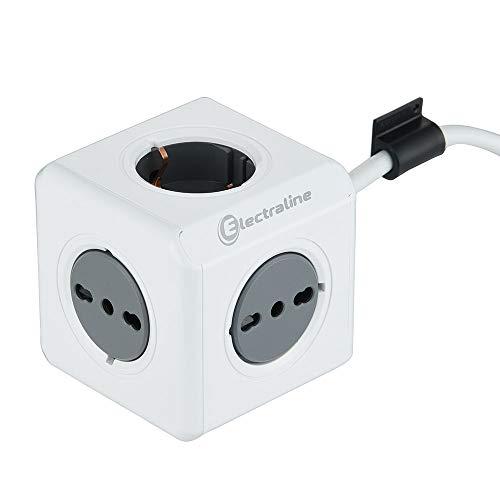 Electraline 62044 Multipresa Cubo Powercube 5 posti 2 Schuko + Spina Italiana, 3 Bivalenti 10/16A Italiane, Colore Bianco, Cavo 1,5M